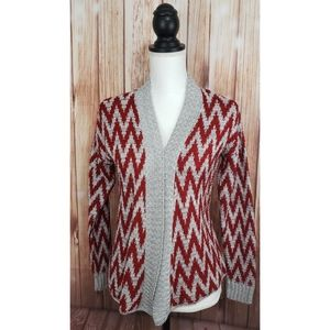 New Directions Cardigan Sweater Red Gray Chevron s